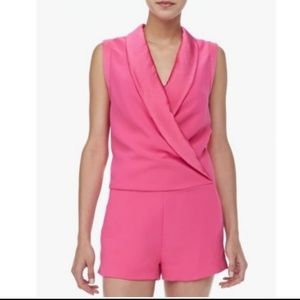 Pink Sleeveless Tuxedo Romper/Jumpsuit